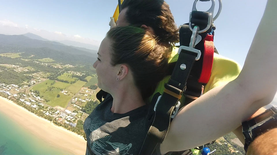 Overlooking Mission Beach during a skydive