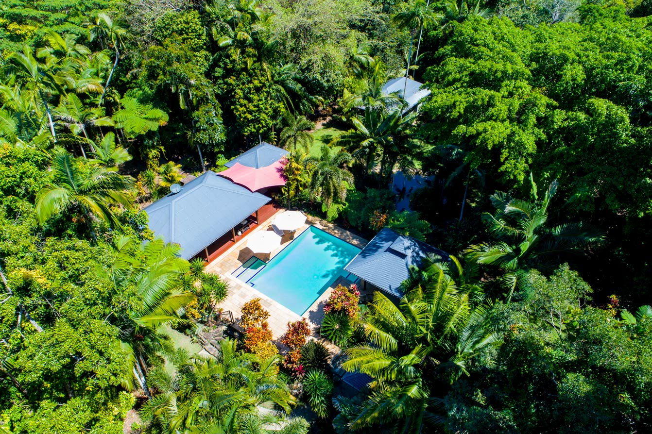 Lost Paradise luxury cabin accommodation is surrounded by rainforest at Mission Beach, north queensland